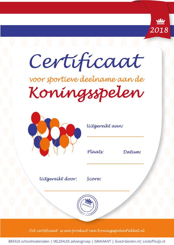 certificaat koningsspelen 2018 koningsspelenpakket