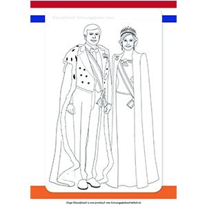 kleurplaat willem en maxima koningsspelenpakket